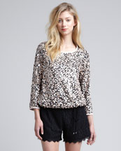 Diane von Furstenberg Kavita Metallic Sequined Top