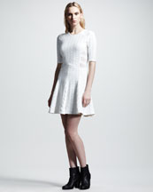 Rag & Bone Nikki Mixed-Knit Flare Dress