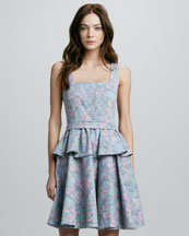 MARC by Marc Jacobs Drew Printed Denim Peplum Dress