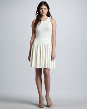Milly Josephine Pleated Knit Dress, White