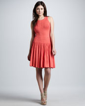 Milly Josephine Pleated Knit Dress, Coral