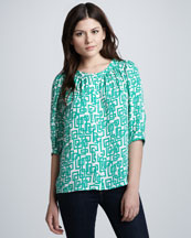 Milly Aimee Geometric-Print Blouse