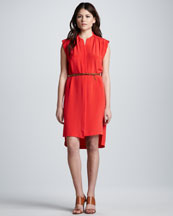 Rebecca Taylor Sleeveless Belted Shift Dress
