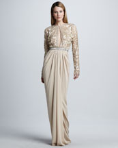 Naeem Khan Long-Sleeve Beaded Drape-Skirt Gown