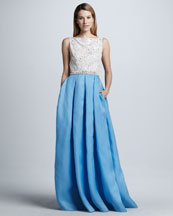 Naeem Khan Beaded-Waist Full-Skirt Lace/Satin Combination Gown