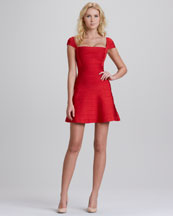 Herve Leger Cap-Sleeve Flounce Bandage Dress