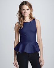 Alice + Olivia Sleeveless Peplum Top, Nautical Blue