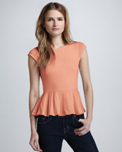 Alice + Olivia Ella Cap-Sleeve Peplum Top, Papaya