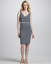 Tory Burch Piera Sleeveless Printed Sheath Dress