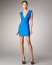 Herve Leger Front-Zip Bandage Dress