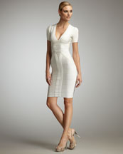Herve Leger Short-Sleeve V-Neck Bandage Dress