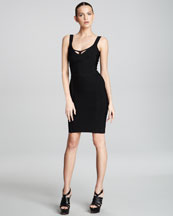 Herve Leger Scoop-Neck Cutout Bandage Dress