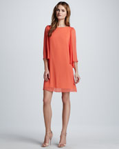 Alice + Olivia Odette Flutter-Sleeve Dress, Papaya