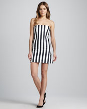 Alice + Olivia Nyla Striped Strapless Dress
