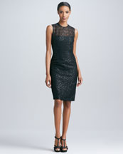 Carmen Marc Valvo Sequined Lace Party Dress