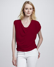 Alice + Olivia Jordan Cowl-Neck Silk Top