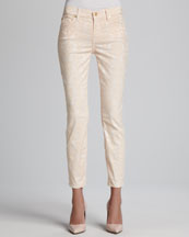 7 For All Mankind Skinny Peach-Textured Cropped Jeans