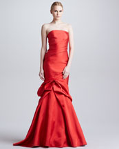 Monique Lhuillier Strapless Sheath Gown with Trumpet Skirt