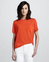 Vince Mix-Fabric Pocket Tee