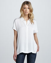 Vince Stretch-Silk Short-Sleeve Blouse