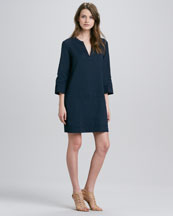 Theory Helda Linen-Blend Dress, True Navy