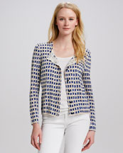 Tory Burch Taho Window-Pane-Print Cardigan