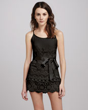 RED Valentino Spaghetti-Strap Short Lace Jumpsuit, Black