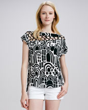 Nanette Lepore Sculptor Printed Silk Top