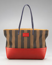 Fendi Striped Roll Tote, Red