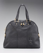 Yves Saint Laurent Oversize Muse Satchel Bag, Black