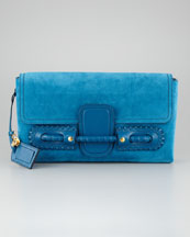 Alexander McQueen Suede Fold-Over Clutch Bag, Prussian Blue