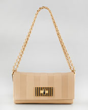 Fendi Pequin Tonal-Stripe Shoulder Bag