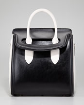 Alexander McQueen Medium Heroine Bicolor Satchel Bag, Black/Ivory