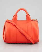 Alexander Wang Rocco Stud-Bottom Satchel Duffel Bag, Tangerine/Yellow Golden