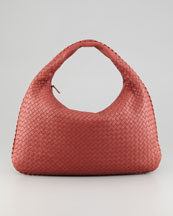 Bottega Veneta Veneta Large Woven Hobo Bag, Coral