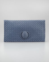 Bottega Veneta Veneta Turnlock Clutch Bag, Bluee