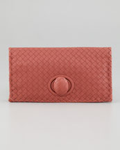 Bottega Veneta Intrecciato Turn-Lock Clutch Bag, Coral
