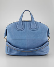 Givenchy Nightingale Zanzi Large Leather Satchel Bag, Sky