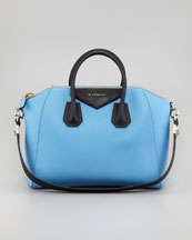 Givenchy Antigona Colorblock Medium Satchel Bag, Blue/Black