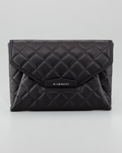 Givenchy Antigona Padded Quilt Envelope Clutch Bag, Black