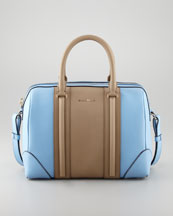 Givenchy Lucrezia Colorblock Medium Satchel Bag, Blue/Brown