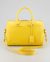 Saint Laurent Small Rigid Crossbody Duffle Bag, Yellow