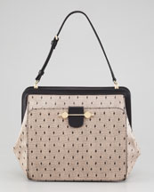 Jason Wu Daphne Lace-Print Leather Satchel Bag, Nude/Black