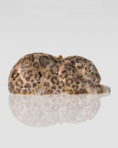 Judith Leiber Wild Cat Jaguar Crystal Clutch Bag