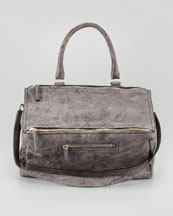 Givenchy Pandora Large Sheepskin Mailbag, Charcoal