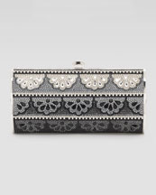 Judith Leiber Doily-Pattern Violin-Sided Clutch Bag
