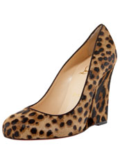Christian Louboutin Ron Ron Calf Hair Wedge Pump