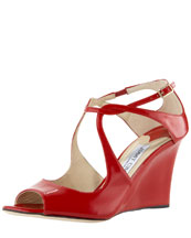 Jimmy Choo Cutout Patent Wedge Sandal