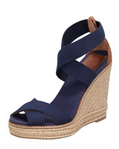 Tory Burch Adonis Stretch Espadrille Wedge, Navy