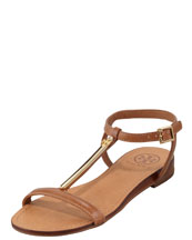 Tory Burch Pacey Gold-Bar Flat Sandal